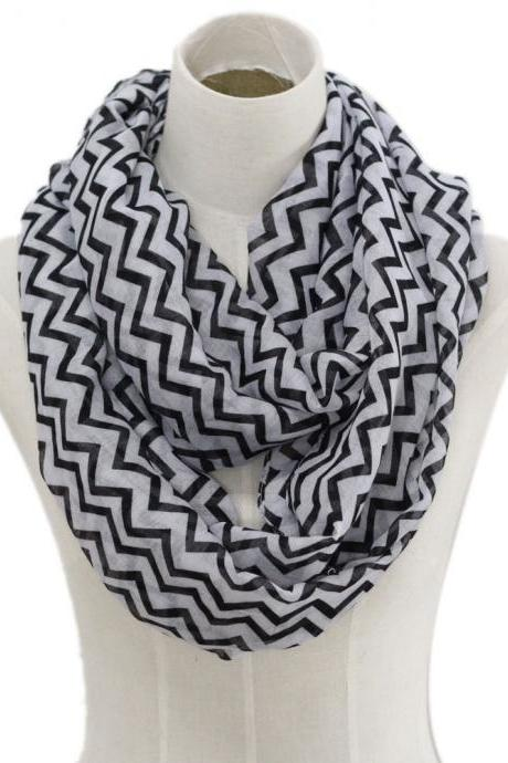 black chevron stripe Sheer cotton infinity scarf loop