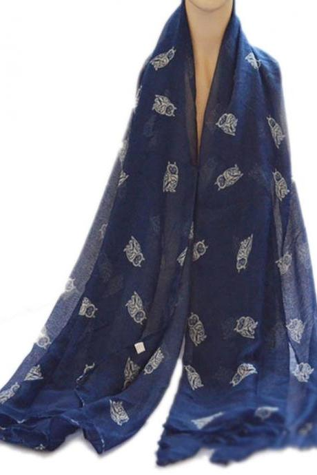 navy blue cotton owl scarf sheer oversize shawl