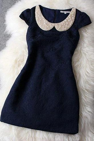 Luxury Designer Dark Blue Dress With Pearl Beaded Collar