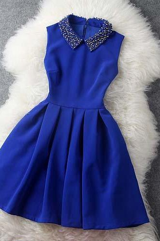 Blue Dress With Collar