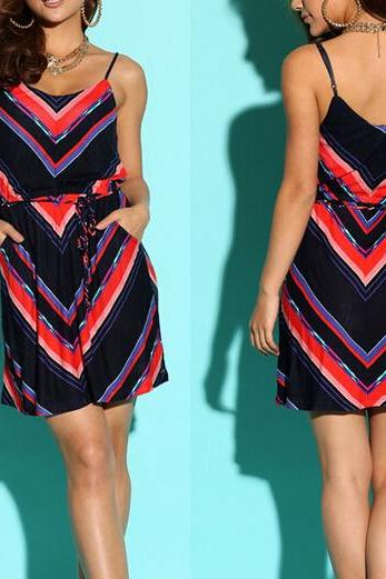 Harness Dress Striped Geometric Patterns