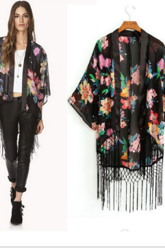 Oversized Black Floral Printed Kimono Cardigan with Tassel