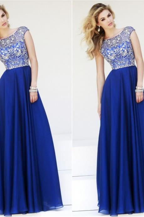 2015 Promotion Empire A-line Long Prom Dresses Elegant A Line Cap Sleeves Royal Blue Chiffon Prom Long Dresses New Floor Length Dress for Prom, Formal Dresses, Evening Gowns