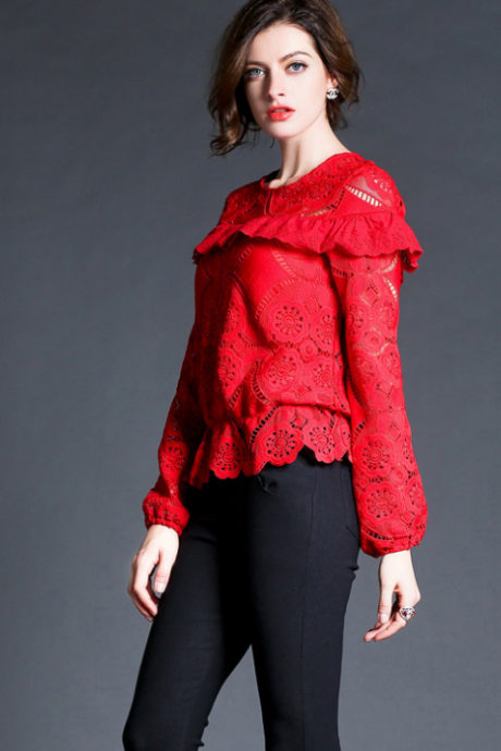 2015 European red water soluble flowers hollow lace blouse