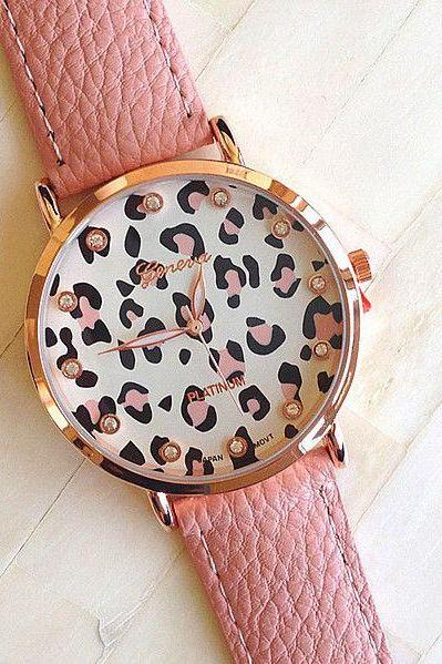 Leopard face PU leather pink fashion girl watch