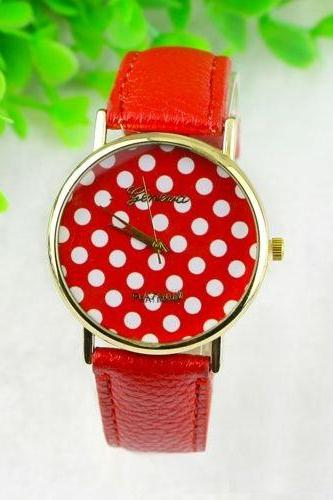 White dots teen girl fashion red party watch