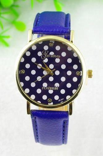 White dots teen girl fashion blue party watch