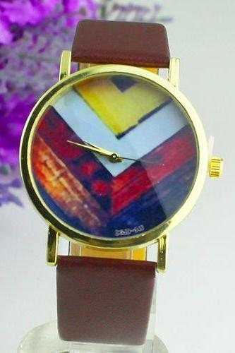Fashion PU leather colorful retro brown band girl watch