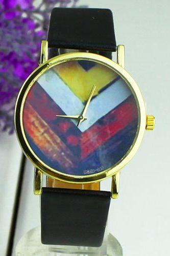 Fashion PU leather colorful retro black band girl watch