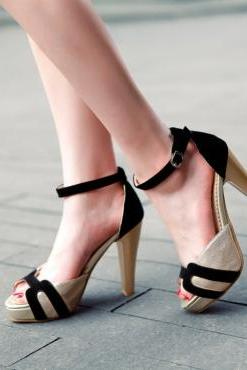 Cheap Fashion Patchwork Chunky Super High Heel Black PU Ankle Strap Sandals