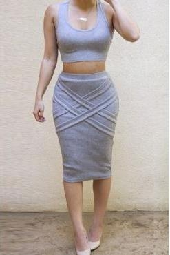 Cheap Sexy Tank Sleeveless Grey Blending Two-piece Sheath Knee Length Bandage Dress