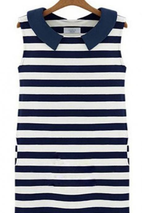 Stripe Navy Blue Tops Sailor Dress Stripe Tops Dress for All Ages-Navy Blue Stripe Dresses-READY TO SHIP-RECEIVE IT 2-3DAYS