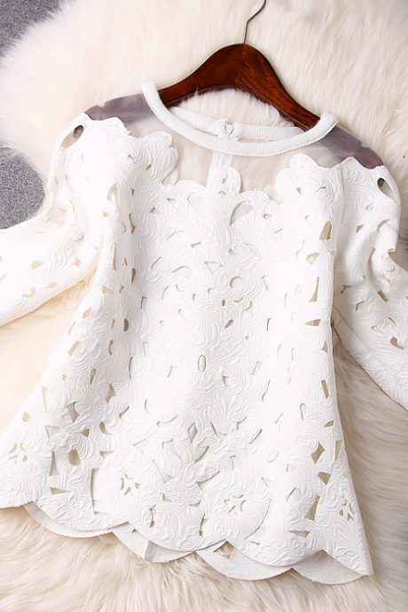 2015 In Europe And The White Hollow Out Splicing Organza Lace Tops