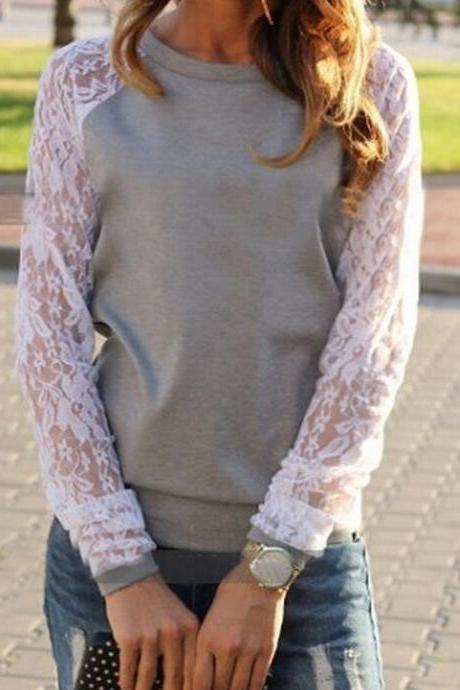 Loose lace long-sleeved round neck sweater VC40912MN