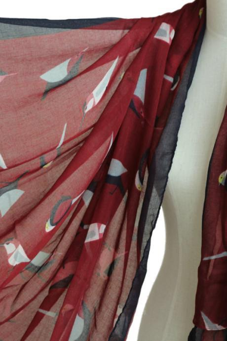 unisex maroon red birds scarf cotton shawl oversize wrap spring summer scarves