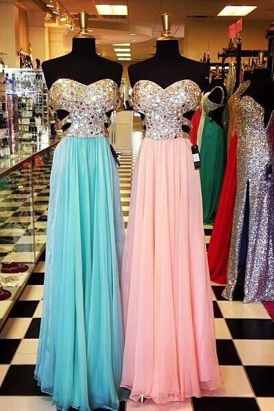 A line sweetheart blue long chiffon prom dress,open back pink full length prom dresses,empire waist backless formal women chiffon dress,evening dress,evening prom gown