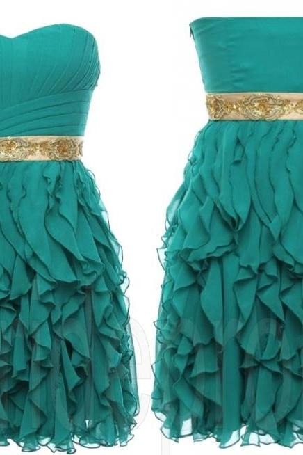 Green Sweet Heart Chiffon Sleeveless Short Prom Dress Evening Party Gown Cocktail Dresses Custom-made