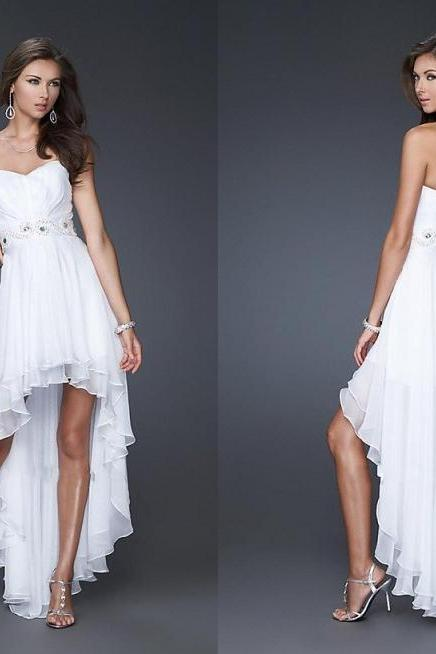 White Prom Dresses Strapless Prom Gowns Chiffon Beach Dresses Women Party Cocktail Gowns Custom