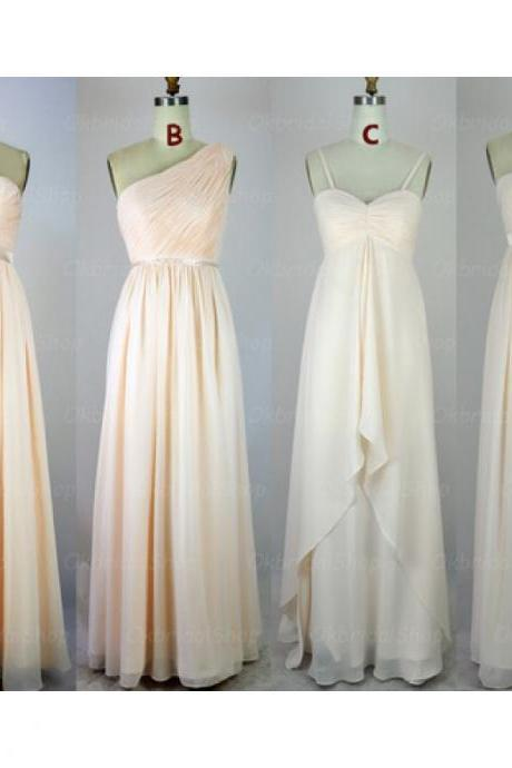 champagne bridesmaid dresses, chiffon bridesmaid dress, long bridesmaid dress, cheap bridesmaid dresses, bridesmaid dress 2015, BM025