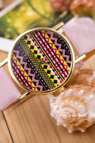 Aztec print watch, Aztec Watch, Aztec Leather Watch, Leather Watch, Bracelet Watch, Vintage Watch, Retro Watch, Woman Watch, Lady Watch, Girl Watch, Unisex Watch, AP00154