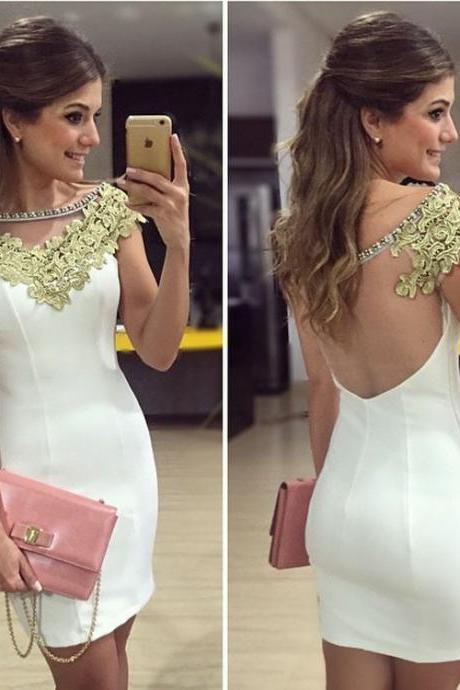 White Stitching Lace Dress