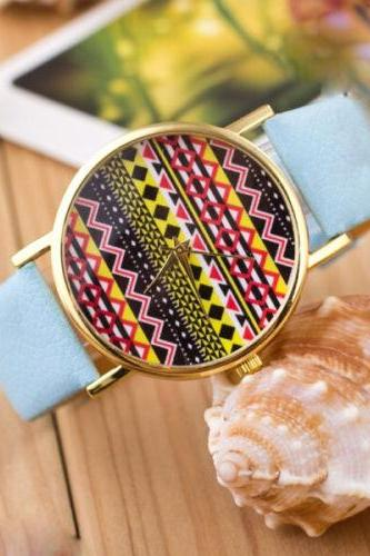 Aztec print watch, Aztec Watch, Aztec Leather Watch, Leather Watch, Bracelet Watch, Vintage Watch, Retro Watch, Woman Watch, Lady Watch, Girl Watch, Unisex Watch, AP00160