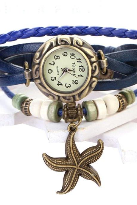 Starfish Watch, Starfish Leather Watch, Leather Bracelet Watch, Leather Watch, Bracelet Watch, Vintage Watch, Retro Watch, Woman Watch, Lady Watch, Girl Watch, Unisex Watch, blue