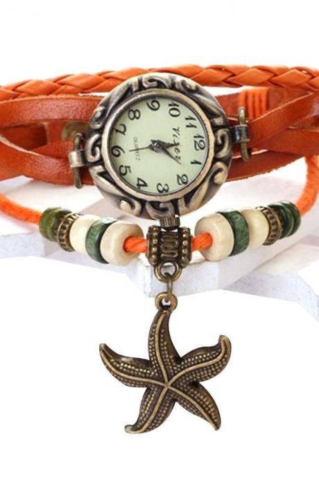 Starfish Watch, Starfish Leather Watch, Leather Bracelet Watch, Leather Watch, Bracelet Watch, Vintage Watch, Retro Watch, Woman Watch, Lady Watch, Girl Watch, Unisex Watch, light brown