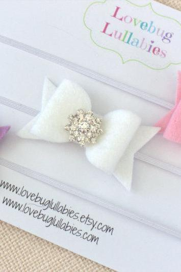 Rhinestone Felt Bow Headband or Hair Clip SET OF 3 for Newborn Baby Child or Adult in Pink Lavender & White