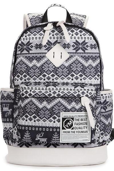 Sexy Deers And Hexagram Printed Backpack