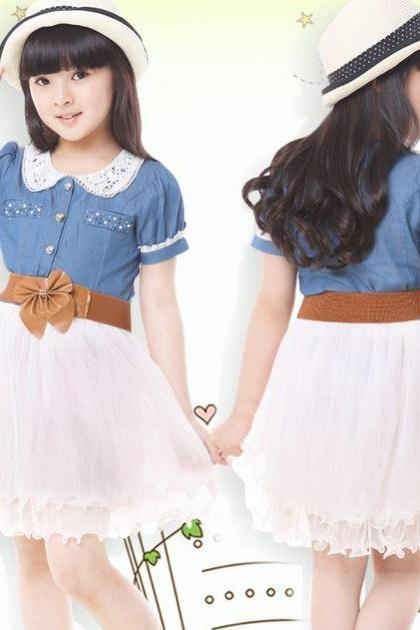 Denim Dress for Bigger Girls Toddler Girls Ages 6T,7T,8T,9T Tutu Cowgirl Dresses