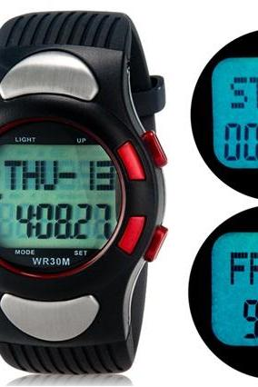 1005 Multifunctional Heart Rate Monitor Pedometer Watch with Plastic Strap M.