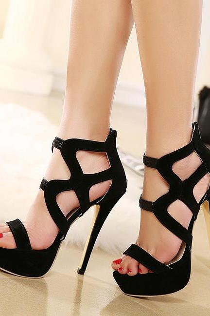 Sexy Black Strappy Peep Toe Fashion Sandals