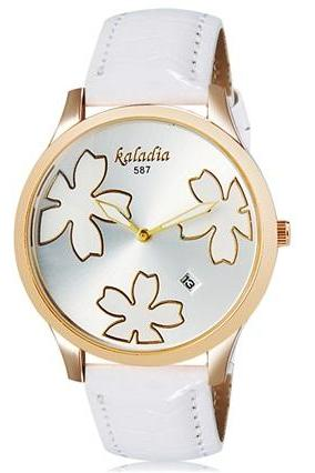 Kaladia 587 Women Flower Print Round Analog Calendar Watch with Faux Leather Strap (White) M.