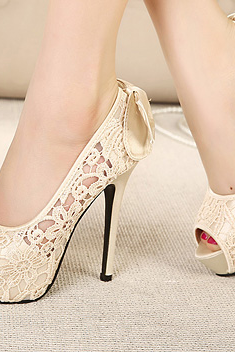 Sweet Lace Hook Flower Bow Fish Head High-Heeled Shoes