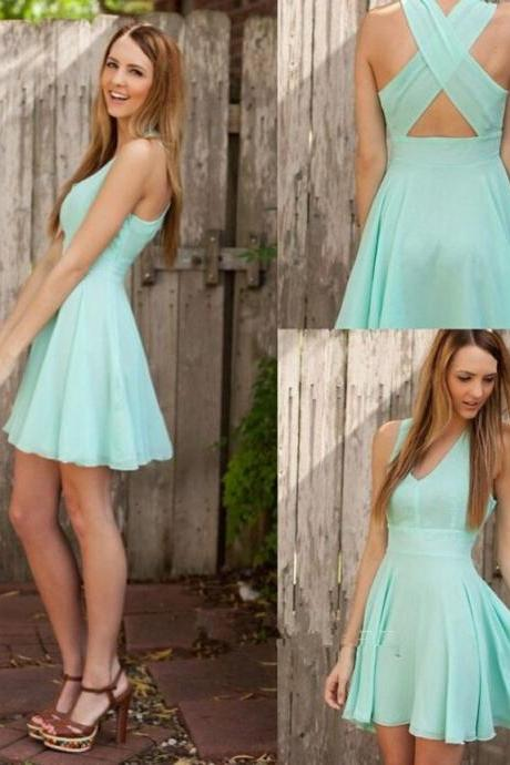 Cute Short Mint Cross Back Knee Length Short Prom Dresses, Homecoming Dresses, Graduation Dresses 2015