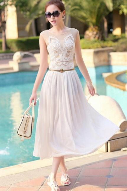 Fashion embroidered sleeveless hollow out a long white dress