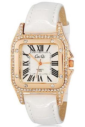 CaiQi 553 Women Crystal Decorated Rectangular Analog Watch with Faux Leather Strap (White) M.