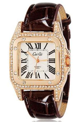 CaiQi 553 Women Crystal Decorated Rectangular Analog Watch with Faux Leather Strap (Brown) M.