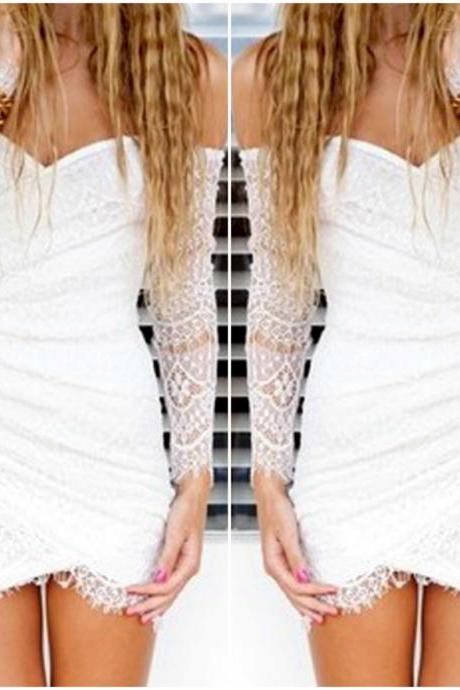 Sexy Off Shoulder Long Sleeve White Lace Dress VN1