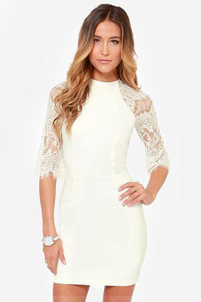 Sexy O Neck Half Sleeves Floral Lace Patchwork White Polyester Sheath Mini Dress
