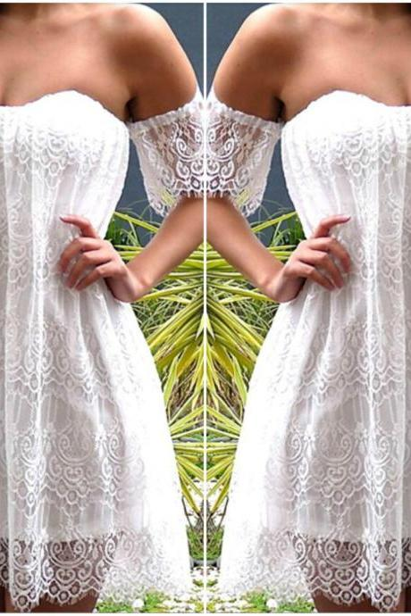 Gorgeous Off Shoulder White Lace Boho Dress YYM