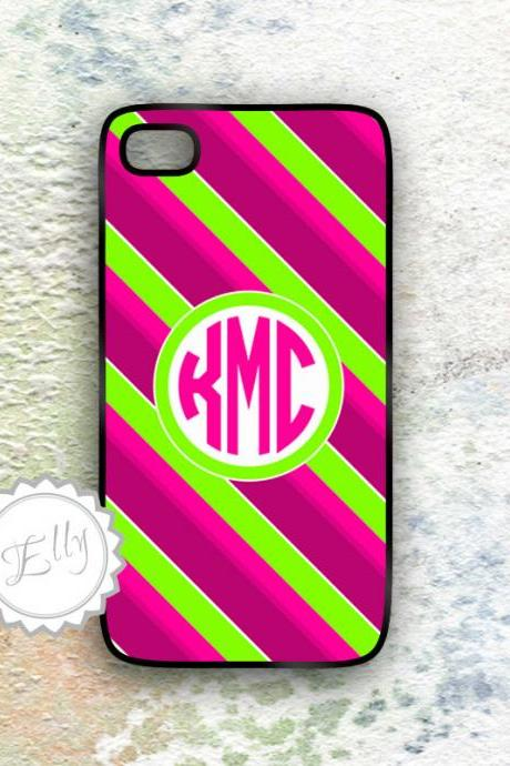 Neon iPhone iPhone 4/4S monogrammed hard case personalized stripes hot pink ,lime green ,lavender