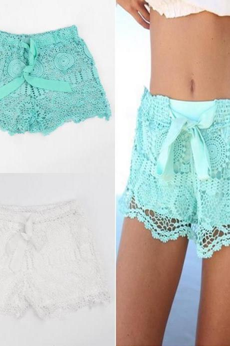 New Hot Fashion Womens Lady Korean Sweet Crochet Tiered Lace Shorts Skorts Short