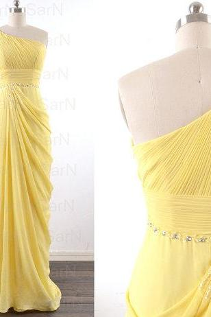 Daffodil Long Prom Dresses, Custom Daffodil One Shoulder Chiffon Long Formal Gown, One Shoulder with Beaded Long Prom Gown
