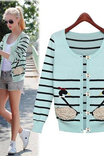 New Style O Neck Long Sleeves Green Regular Cardigan Sweater