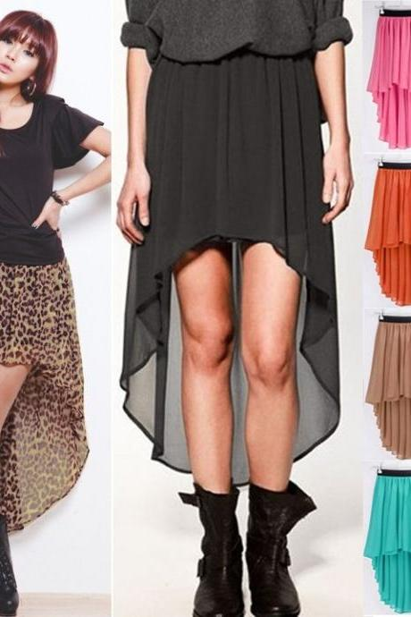 New Sexy Asymmetrical Hem Chiffon Skirt Ladies Long Maxi Skirt Elastic Waist 10 Colors