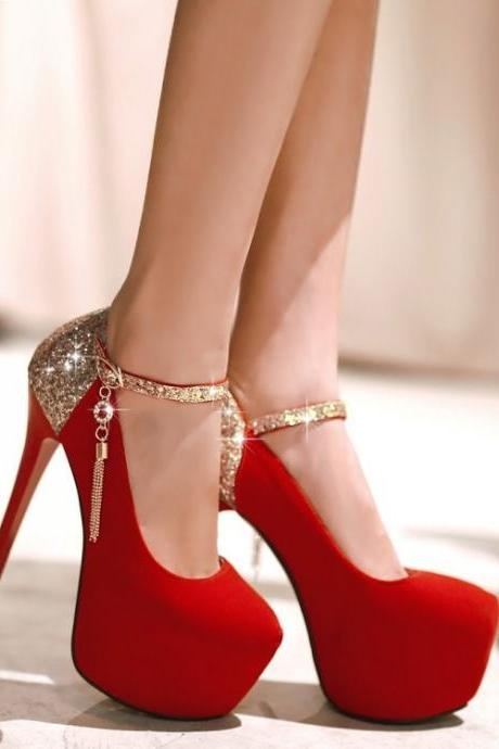 Bright red wedding shoes 1795LX
