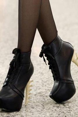Spring Autumn Round Toe Wedge High Heels Lace Up Black PU Short Martens Boots