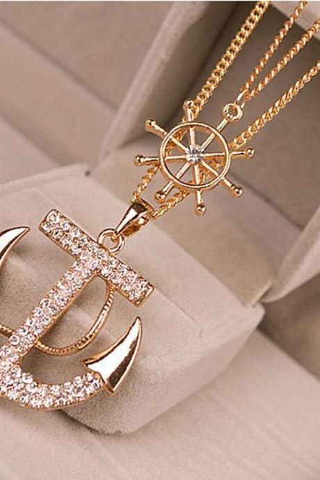 Vogue Women Lady Alloy Diament Anchor Sweater Chain Necklace Long Pendan Gold